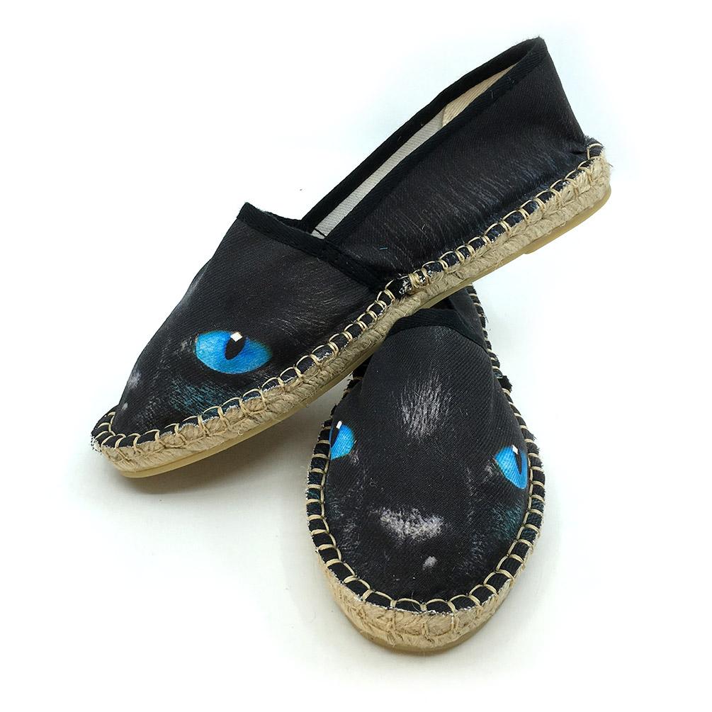 Espadryle Czarny Kot z niebieskim oczami - Tulzo