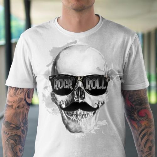 Koszulka z Czaszką Rock and Roll - Tulzo