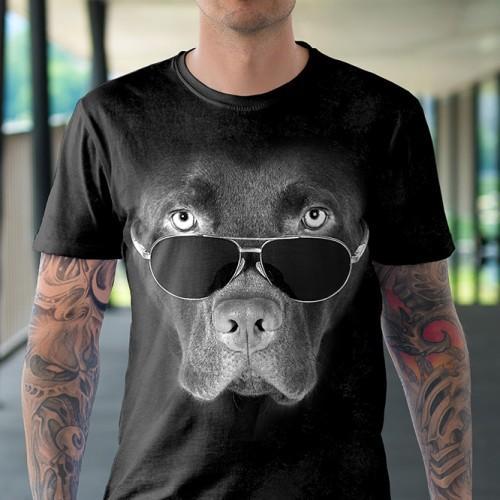 Koszulka Basic z Labradorem czekoladowym w okularach - Tulzo
