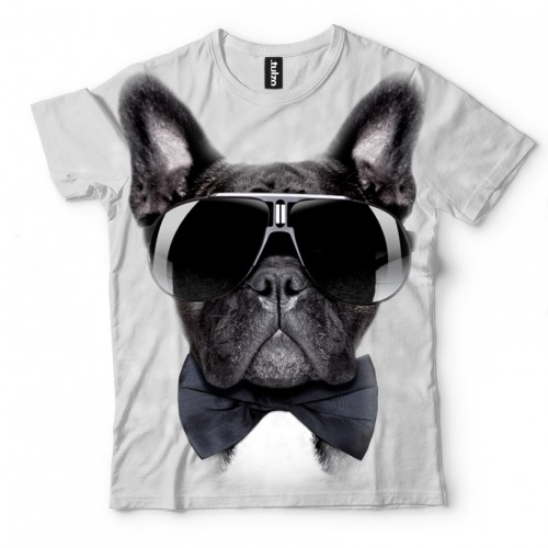 Koszulka z Buldogiem francuskim sunglasses | Buldog francuski | Buldożek | Koszulki 3d | Koszulka 3d | t-shirt 3d | t-shirts 3d - Tulzo
