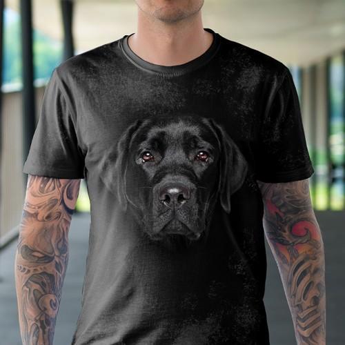 Koszulka z Czarnym Labradorem | Labrador Czarny | Koszulki ze zwierzętami 3D | Tulzo - Tulzo