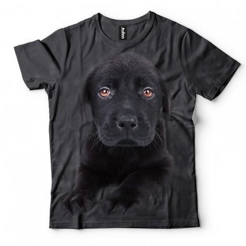 Koszulka z Psem Labradorem Czarny Szczeniak | Labrador | Koszulki 3d | Koszulka 3d | t-shirt 3d | t-shirts 3d - Tulzo