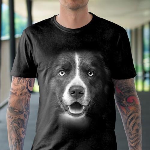 Koszulka Basic z Brązowym Border Colie - Tulzo