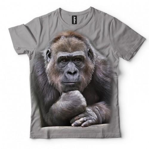 Koszulka z Myślicielem | Małpa | Małpka | Goryl | Koszulki 3d | Koszulka 3d | t-shirt 3d | t-shirts 3d - Tulzo