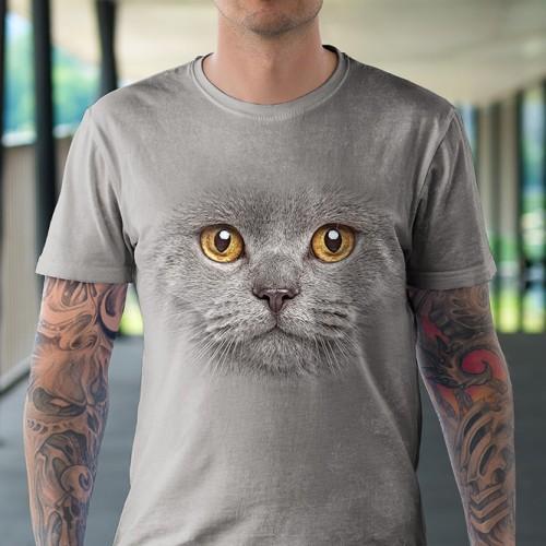 Koszulka z szarym kotem | Kot | Kotem | Kotami | Koty | Kotki | Koszulki ze zwierzętami 3D | Tulzo - Tulzo