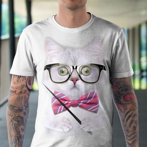 Koszulka z Kotem Nauczycielem - Koszulki z kotami | Koszulki 3D | Tulzo - Tulzo