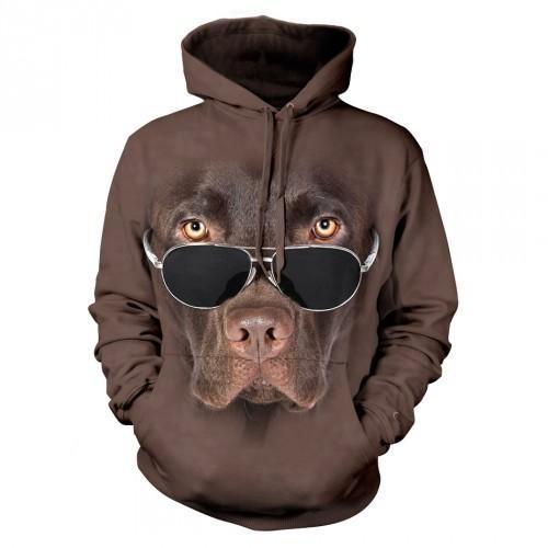 Bluza z Labradorem czekoladowym w okularach | Bluza | Bluzy | Bluzy 3D | Bluza 3D - Tulzo