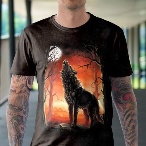 Koszulka z Wilkiem - Koszulki z Wilkiem 3D   Wilk   Wilkami   Koszulki ze zwierzętami 3D   Tulzo - Tulzo