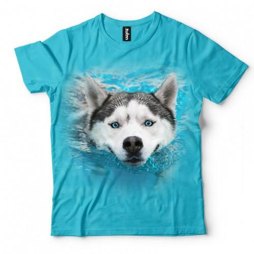 Koszulka z Płynącym Husky | Koszulki 3D | Tulzo | - Tulzo