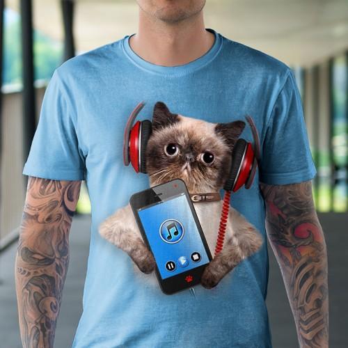 Koszulka z Kotem z telefonem | Kot | Koty | Kotami | Koszulki 3d | Koszulka 3d | t-shirt 3d | t-shirts 3d - Tulzo
