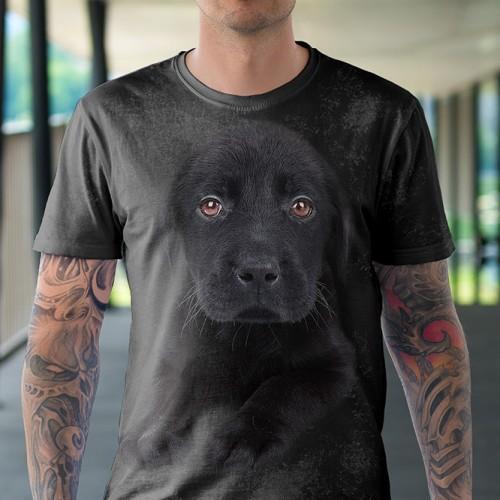 Koszulka z Psem Labradorem Czarny Szczeniak   Labrador   Koszulki 3d   Koszulka 3d   t-shirt 3d   t-shirts 3d - Tulzo
