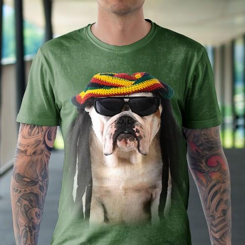Koszulka z Piesem Rasta | Pies | Koszulki 3d | Koszulka 3d | t-shirt 3d | t-shirts 3d - Tulzo