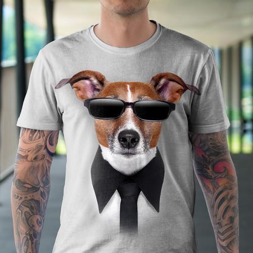 Koszulka z Psem w Okularach | Koszulka z psami | Psy | Koszulki 3d | Koszulka 3d | t-shirt 3d | t-shirts 3d - Tulzo