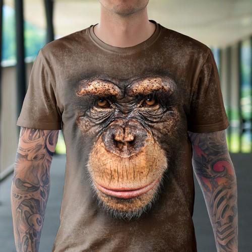Koszulka z Szympansem | Szympans | Małpa | Małpka | Koszulki 3d | Koszulka 3d | t-shirt 3d | t-shirts 3d - Tulzo