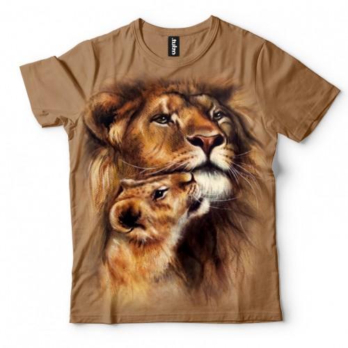 Koszulka z Lwem i lwiątkiem | Lew | Koszulki ze zwierzętami 3D | Tulzo - Tulzo
