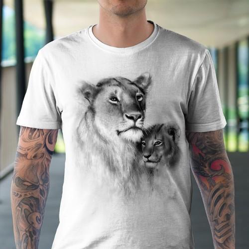 Koszulka Basic z Lwicą z lwiątkiem - Tulzo