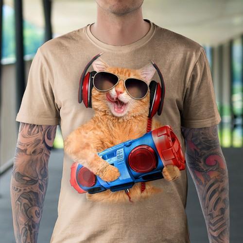 Koszulka Kot z Bomboxem | Koszulka z kotem | Koszulki z kotem | Koszulki 3d | Koszulka 3d | t-shirt 3d | t-shirts 3d - Tulzo