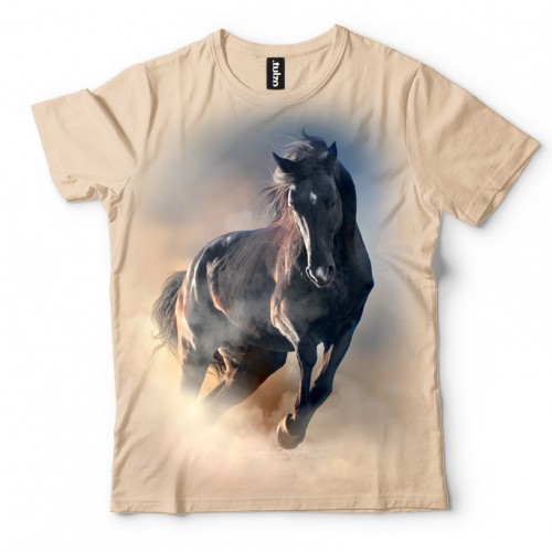 Koszulka z Czarnym Koniem | Koń | Konie | Końmi | Koszulki ze zwierzętami 3D | Tulzo - Tulzo