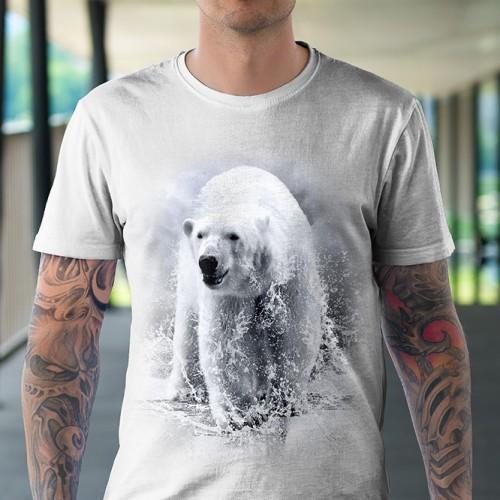 Koszulka z Niedźwiedziem Polarnym | Niedzwiedz | Koszulki 3D | Tulzo | - Tulzo