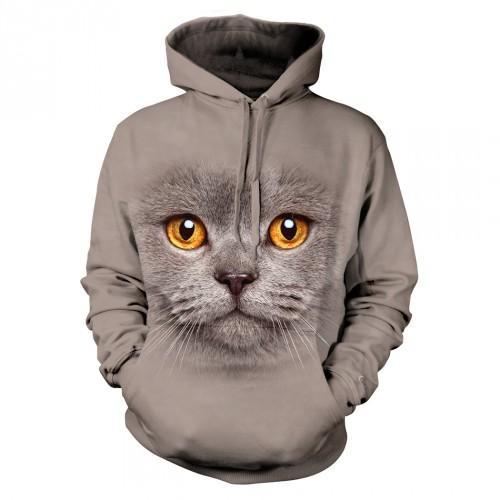 Bluza z szarym kotem | Bluza | Bluzy | Bluzy 3D | Bluza 3D - Tulzo