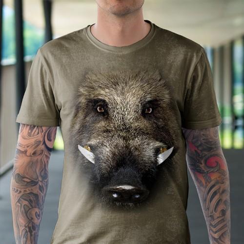 Koszulka z Dzikiem | Dzik | Koszulka dla myśliwego | Koszulki ze zwierzętami 3D | Tulzo - Tulzo
