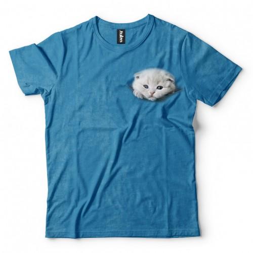 Koszulka z Kotkiem wychodzącym z kieszeni, kieszonce - Tulzo