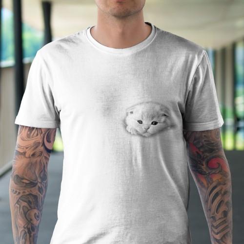 Koszulka Basic z Kotkiem wychodzącym z kieszeni - Tulzo