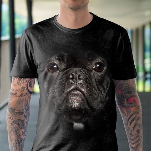 Koszulka z Czarnym Buldogiem | Czarny Buldog | Koszulki ze zwierzętami 3D | Tulzo - Tulzo