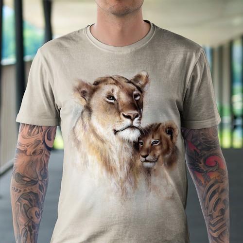 Koszulka z Lwicą z lwiątkiem | Lew | | Koszulki ze zwierzętami 3D | Tulzo - Tulzo