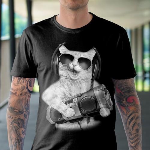 Koszulka Basic z Kot z Bomboxem - Tulzo