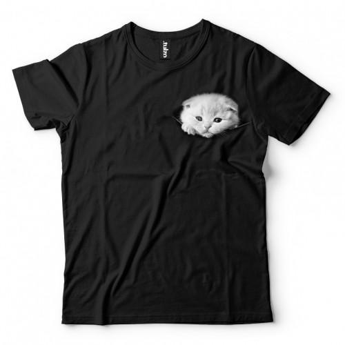 Koszulka Basic z Kotkiem wychodzącym z kieszeni, kieszonce - Tulzo