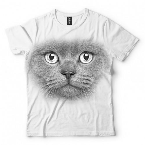 Koszulka Basic z szarym kotem - Tulzo