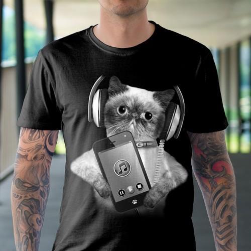 Koszulka Basic z Kotem z telefonem - Tulzo