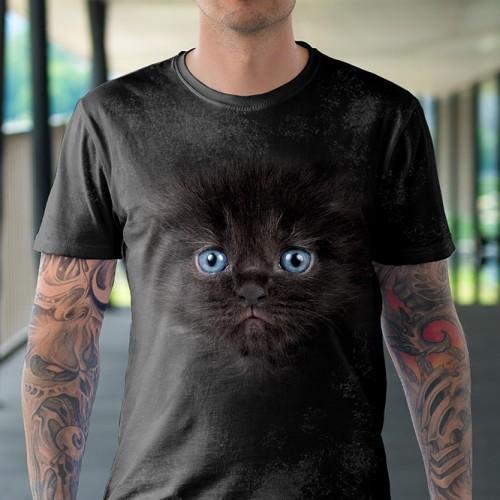 Koszulka z Małym Czarnym Kotkiem | Kotem | Kot | Kotek | Kotami | Koty | Koszulki ze zwierzętami 3D | Tulzo - Tulzo