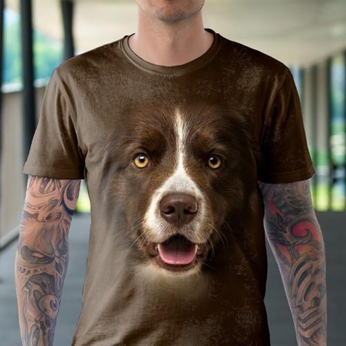 Koszulka z Brązowym Border Colie | Koszulki ze zwierzętami 3D | Tulzo - Tulzo