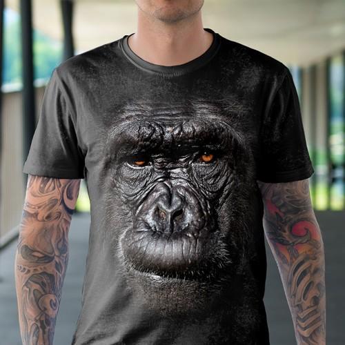 Koszulka z Gorylem | Goryl | Małpa | Małpka | Koszulki ze zwierzętami 3D | Tulzo - Tulzo