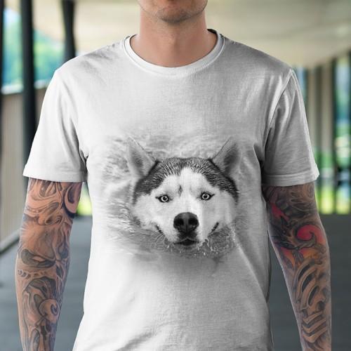 Koszulka Basic z Płynącym Husky - Tulzo