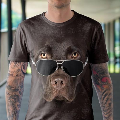 Koszulka z Labradorem czekoladowym w okularach | Labrador | Koszulki ze zwierzętami 3D | Tulzo - Tulzo