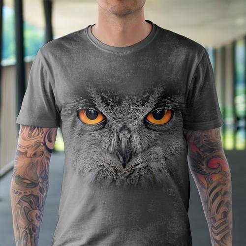 Koszulka z Czarną Sową | Sowa | Koszulki 3D | Tulzo | - Tulzo